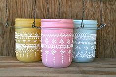 Set of 3 Hanging Mini Mason Jar Lanterns, painted light frosty pink, yellow, and blue , Spring decorations
