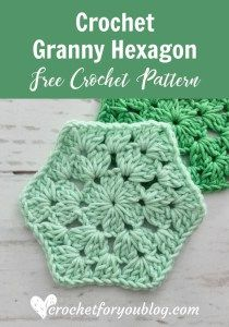 crochet squares design Crochet Granny Hexagon Free Pattern - Crochet For You - How to crochet granny hexagon. This free crochet pattern and tutorial great for beginner.Featured at this week's Wednesday Link Party is: Crochet Granny Hexagon Free . Hexagon Crochet Pattern, Crochet Blocks, Crochet Stitches Patterns, Crochet Squares, Crochet Motif, Free Pattern, Crochet Hexagon Blanket, Crochet Crown, Crochet Flower