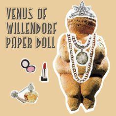 Venus of Willendorf fertility Goddess magnetic paper doll. Venus Of Willendorf, Coloring Sheets, Fertility, Paper Dolls, Art History, Pop Culture, Prints, Design, Study