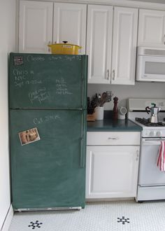"""""""Beyond the Chalkboard Fridge: Decorated Refrigerators"""" -- This kinda makes me want to decorate my white, dented, stained fridge with something more than magnets & children's toys. :)"""