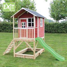 Kinder-Spielhaus EXIT Loft 500 Kinderspielhaus Stelzenhaus Holzhaus natur Kinderspielhaus Loft in rot Wer es lieber rot mag. Seit diesem Jahr gibt es das Kinderspielhaus Loft auch in rot.