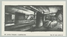 """Design of """"Super-Tanker Liparus and Submarines"""" for The Spy Who Loved Me, GB/USA 1977, Directed by Lewis Gilbert. Image © Sir Ken Adam, Deutsche Kinemathek – Ken Adam Archive"""