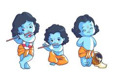 Set Of Little Krishna. Vector Cartoon Illustration On A White. Royalty Free Cliparts, Vectors, And Stock Illustration. Baby Krishna, Little Krishna, Cute Krishna, Krishna Art, Krishna Drawing, Krishna Painting, Cartoon Cartoon, Cute Cartoon Pictures, Cartoon Characters