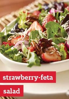 Strawberry-Feta Salad — Balsamic and feta pair tastily with walnuts and strawberries for a memorable summer salad recipe that can fit into your healthy eating plan. Plus, it's ready to enjoy in just 10 minutes total!
