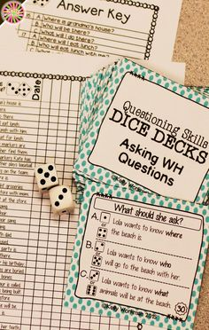 Looking for ideas to increase engagement with your students? DICE DECKS interactive task cards teach specific skills while keeping their attention! Great for individual, small group (speech therapy, RTI, etc.), or even whole-class learning. Click to view this Asking WH Questions set!
