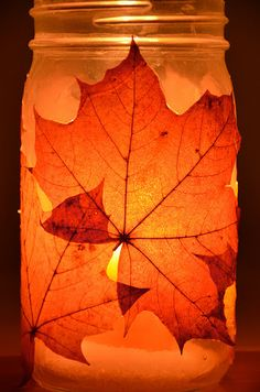 No Wooden Spoons: Autumn Lanterns {tutorial} Easy Thanksgiving Crafts, Fall Crafts, Halloween Crafts, Cranberry Wedding Colors, Art For Kids, Crafts For Kids, Fabric Stiffener, Leaf Bowls, Fall Candles
