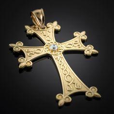 Mens Gold Armenian Apostolic Cross Diamond Solitaire Pendant...