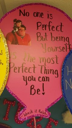 Wreck it Ralph quote Wreck It Ralph Quotes, No One Is Perfect, Child Development, Deco, Art Projects, Students, Children, Handmade, Classroom