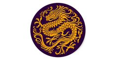 This flowing circular design features a flowing Chinese dragon. The body of the serpent snakes around from the top of the pattern down to the swirling tail. Four large claws extend from the body of the dragon creating an aggressive yet elegant stance. This beautiful pattern is a stylish take on the traditional Chinese dragon.