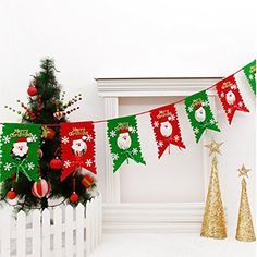Christmas decoration flags 8 pieces of Santa Claus flag Pennant Christmas Ornament * This is an Amazon Affiliate link. Check out this great product.