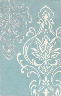 Undeniably chic, the Surya Modern Classics Damask Rug is perfect for updating any traditional design space. This rug is artfully hand-tufted of plush yet durable wool, and it features an eye-catching damask pattern in white over a denim background. Floral Area Rugs, Beige Area Rugs, Damask Rug, Candice Olson, Modern Rugs, Contemporary Rugs, Throw Rugs, Modern Classic, Colorful Rugs