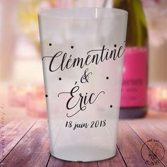Gobelets personnalisés Chic Givrés transparents pour mariage ou PACS - Oui Oui Bunny : Mariage, PACS, EVJF