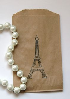 Eiffel Tower French Theme Kraft Favor Bags/Gift Bags Set of 20