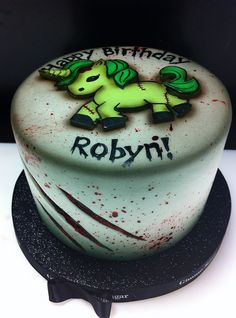 Zombie Unicorn Cake by Gimme Some Sugar (vegas!), via Flickr Zombie Party, Halloween Food For Party, Halloween Cakes, Halloween Treats, Giraffe Party, Unicorn Party, Gorgeous Cakes, Amazing Cakes, Cake Cookies