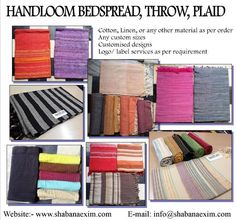 Cotton hand loom yarn dyed hand woven bed sheets table covers throws