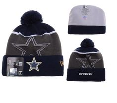 d60eec1a0c8 Mens   Womens Dallas Cowboys New Era NFL Fashion Gold Collection  Liquidchrome Logo Cuff Knit Beanie Hat With Pom - Navy   Graphite