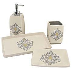 Charming Waverly Bedazzled Gray Ceramic Bath Accessory 4 Piece Set By Waverly