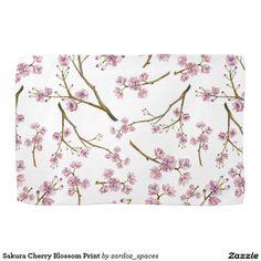 Sakura Cherry Blossom Print Towel #sakura #cherryblossom #cherryblossoms #pattern #spring #summer #blossom  #towel #kitchentowel #kitchen #decor