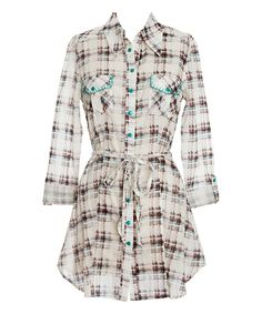 Look what I found on #zulily! Brown Perfectly Plaid Tunic by Nick & Mo #zulilyfinds