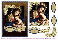 Madonna and Child Card Front  on Craftsuprint designed by Isabel Neves - Beautifully detailed with delicate cream roses, this gorgeous Antique Mary and Jesus image is further adorned with sparking pink diamonds and matching sentiment tags and framed with deep rich colors which add warmth and dept to this lovely keepsake card.Perfect for any occasssion and also makes a delightful Easter Greeting Card, Mother's Day Card or Any Occassion to show your love.Includes 3 additional sentiment tags…