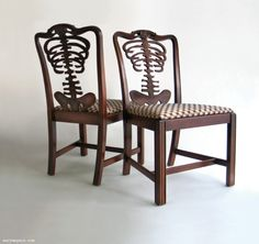 """skeleton chairs from """"Wary Meyers' Tossed and Found"""". For my future chiropractic office Skull Rock, Skull Art, Take A Seat, My Dream Home, Cool Furniture, Black Furniture, Dining Chairs, Dining Room, Room Chairs"""