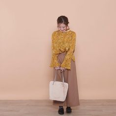 POUDOUDOU  autumn  winter collection coming soon ---------------------------------------------------- flower print frill blouse 3900tax . . (staff model murata from shinjuku mylord) #poudoudou #pdd17aw
