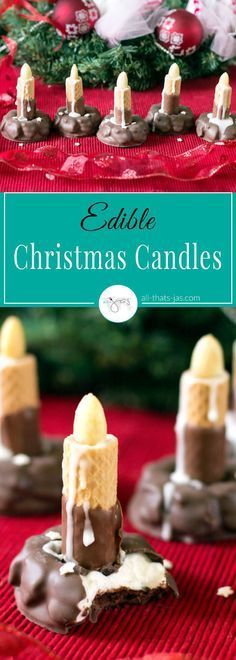 Marshmallow fudge cookies aka pinwheels, almonds, and chocolate wafer rolls make these edible Christmas candles a perfect treat, table decoration, or a gift. Best of all, it is made in only 10 minutes and there's no baking involved.