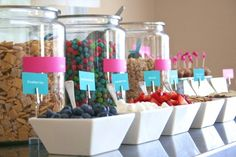 Cereal Bar- cool sleepover idea for the next morning!