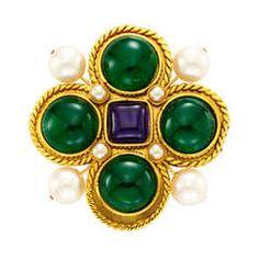 Chanel Costume Byzantine-style Gripoix Large Brooch