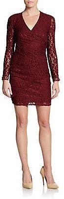 Long-Sleeve Lace V-Neck Dress