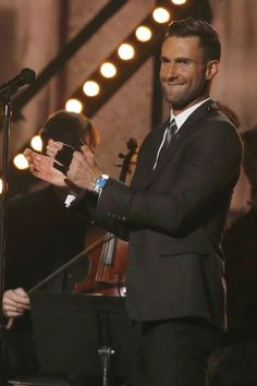 "Adam Levine performs ""My Heart Is Open"" at this year's Grammy Awards."