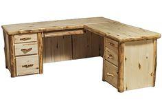 L-Desk in Flat Front (72″W)