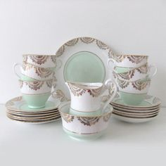 Vintage China Tea Set  - Phoenix China in mint green #peonyandthistle