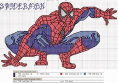 Hobby lavori femminili - ricamo - uncinetto - maglia: schema punto a croce spiderman