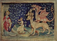 "GOTHIC TAPESTRY 14TH CENTURY   Bataille,Nicolas  Apocalypse d'Angers,1373-1387, a series of tapestries woben for Louis I.,Duke of Anjou. Dragons vomiting frogs (Revelations 16:13-14). ""And I saw three unclean spirits like frogs, coming out of the mouth of the dragon and of the mouth of the beast and out of the mouth of the false prophet..""   Musee de la Tapisserie, Angers, France"
