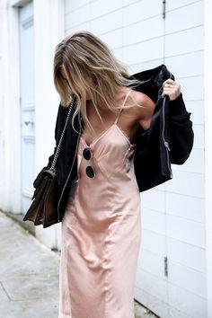 Slip dress + leather jacket  [ #slipdress #pink #leatherjacket ]