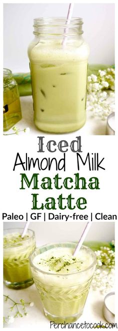 Iced Almond Milk Matcha Latte (Paleo, GF) | Perchance to Cook, www.perchancetocook.com