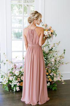 Model: Britt, Size: 4, Color: Desert Rose Dusty Rose Bridesmaid Dresses, Dusty Rose Dress, Always A Bridesmaid, Bridesmaids, Navy Blue Prom Dress Long, Prom Dresses Blue, Wedding Dresses, Mother Of The Bride Gown, Faux Wrap Dress