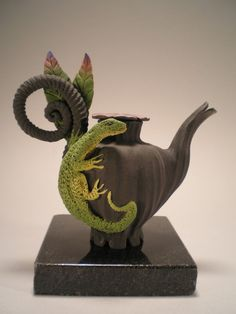 Lone Lizard Teapot - Low fire, matt glazes, procelain, clay, ceramic, airbrushed:  Nancy Adams Clay Artist, Etsy