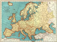 Map of Europe Antique world maps ancient maps by mapsandposters