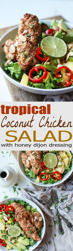 Change up your salad game with this Tropical Coconut Chicken Salad filled with fresh exotic fruits and homemade almond-coconut crusted chicken tenders. It's a swoon worthy salad that'll take you to the beach and you'll want to repeat all week! | joyfulhealthyeats.com