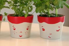 the herb family by Hillary Lang, via Flickr - adorable planters!