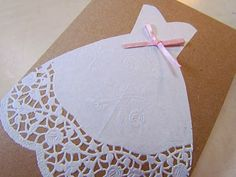 Adorable!  Doily wedding dress shower invitation
