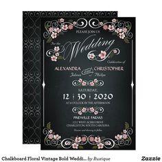 Chalkboard Floral Vintage Bold Wedding Invitation #chalkboard #Floral #Vintage #Bold #Wedding #Invitation