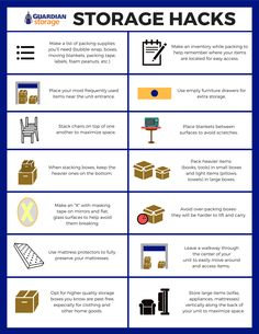 Getting ready to move your belongings into a storage unit? Check out these 14 easy storage hacks! Trying to fit all of your belongings into a self storage unit can be daunting, but with these simple tips, you're sure to succeed. Media Storage Unit, Self Storage Units, Car Storage, Storage Hacks, Storage Ideas, Drive Storage, Storage Bins, Moving House Tips, Moving Tips