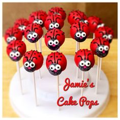 Ladybug / Lady Bug Cake pops by JamiesCakePops on Etsy Ladybug Cake Pops, Ladybug Cakes, Ladybug Party Foods, Baby Ahower Ideas, Cumpleaños Lady Bug, Miraculous Ladybug Party, Ladybug 1st Birthdays, Baking School, Pony Cake