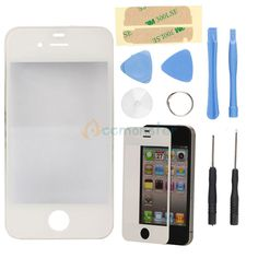 White Front Screen Glass Lens Repair Replacement for Apple iPhone 4G 4 +8 * tool