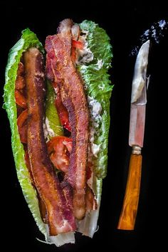 """Carbless Meals Carbless Recipes Quest Lunch BLT Lettuce Wraps Gluten free """"Bacon, Lettuce Tomato Wraps #paleo -- quick, easy, and satisfying. don't miss the bread at all!"""" 4 slices on bacon, preferably applewood smoked 1 tomato, sliced thin 2 whole romaine leaves 2 tablespoons mayonaise salt and pepper to taste"""