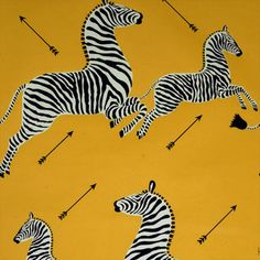 Zebras Wallpaper, Yellow - eclectic - wallpaper - by Digs