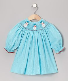Take a look at this Turquoise Snowman Bishop Dress - Infant, Toddler & Girls on zulily today!